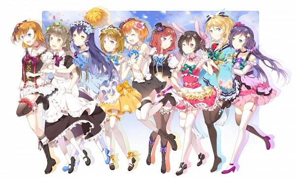 Tags: Anime, Pixiv Id 3510916, Love Live!, Koizumi Hanayo, Toujou Nozomi, Yazawa Niko, Sonoda Umi, Kousaka Honoka, Minami Kotori, Ayase Eri, Nishikino Maki, Hoshizora Rin, Flower Clip