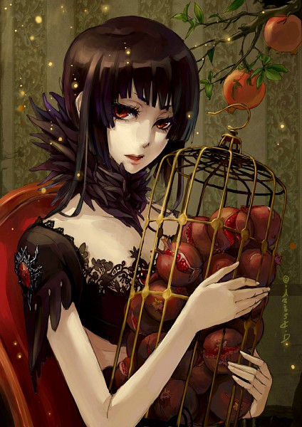 Tags: Anime, .Axis., Persephone, Slender, Pomegranate, Replacement Request, Greek Myths, Pixiv, Original, Mobile Wallpaper