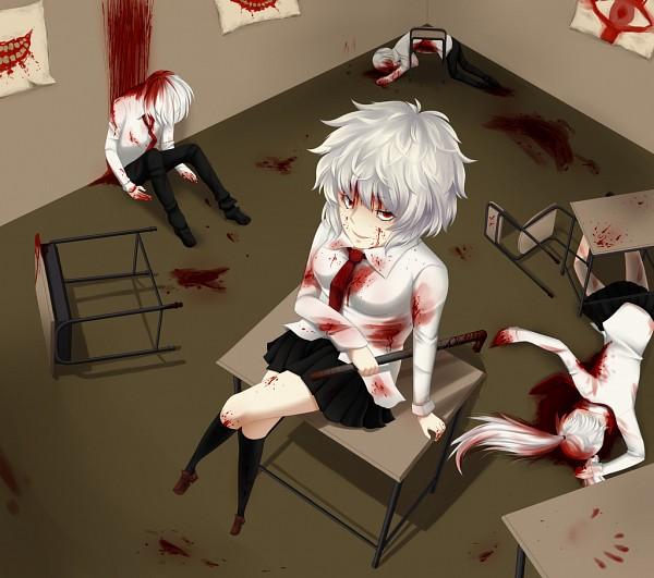 Tags: Anime, Raimeiuta, .flow, Rust (.flow), Kaibutsu, Sitting On Table, Blood On Weapons, Pipe (Plumbing), School Desk, Fanart, Fanart From DeviantART, deviantART