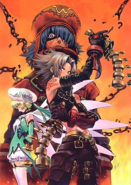 Tags: Anime, Yoshiyuki Sadamoto, Bandai Visual, .hack//G.U., Haseo, Atoli, Azure Flame Kite, Harvest Cleric, Adept Rogue, Official Art, Scan