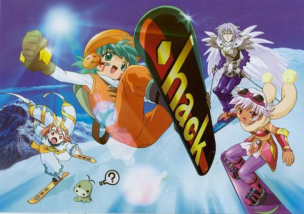 Tags: Anime, Bandai Visual, .hack//Legend of the Twilight, Kunisaki Shugo, Balmung, Mireille (.hack//), Snowboard, Scan, Official Art
