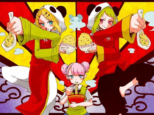 Tags: Anime, Pixiv Id 746701, VOCALOID, Kagamine Rin, Fan Character, Mika-chan, GUMI, Ramen, Fried Rice, Panda Hood, Pandamimi, Bear Hood, Rice