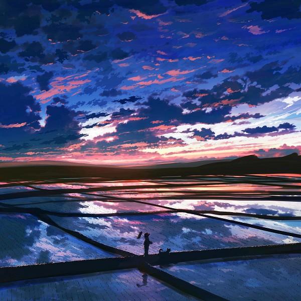 Tags: Anime, 108 (artist), Oba-san, Rice Field, Water Reflection, Sunrise, Pixiv, Original