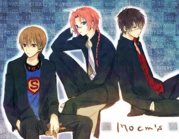 Tags: Anime, Mg (Pixiv4935063), Gintama, Kamui (Gin Tama), Okita Sougo, Takasugi Shinsuke, Sleep Mask, Pixiv, Fanart, 3z, 170 Cm Trio