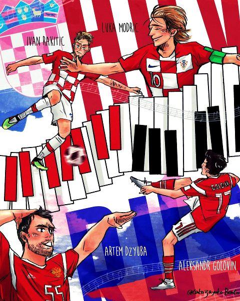 Tags: Anime, Pixiv Id 112609, Artem Dzyuba, Ivan Rakitić, Luka Modrić, Aleksandr Golovin, Piano Keys, 2018 FIFA World Cup, Soccer Players