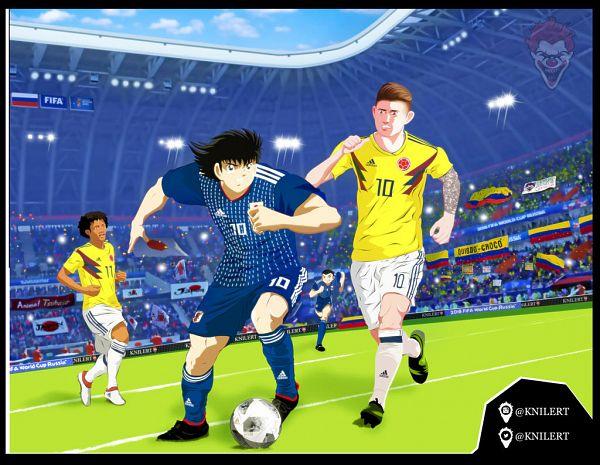 Tags: Anime, Knilert, Captain Tsubasa, James Rodríguez, Ishizaki Ryou, Juan Cuadrado, Oozora Tsubasa, Honda Keisuke (Cosplay), Kagawa Shinji (Cosplay), Soccer Field, 2018 FIFA World Cup, deviantART, Soccer Players