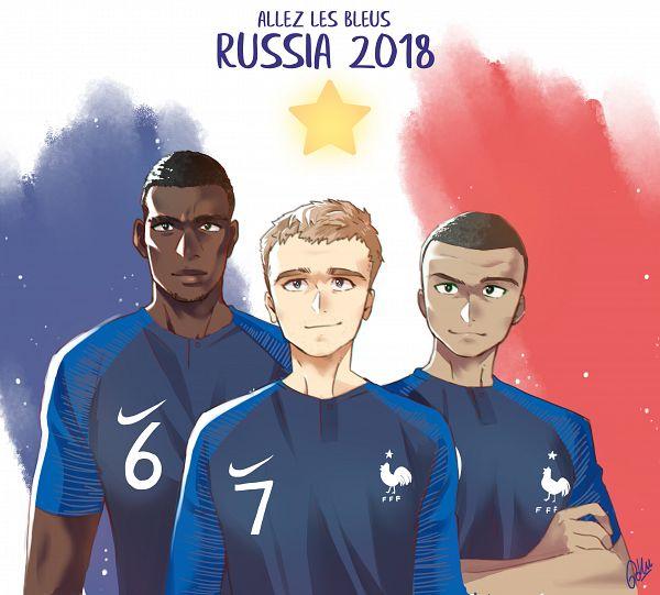 Tags: Anime, Pixiv Id 869312, Paul Pogba, Antoine Griezmann, Kylian Mbappé, French Text, 2018 FIFA World Cup, Soccer Players