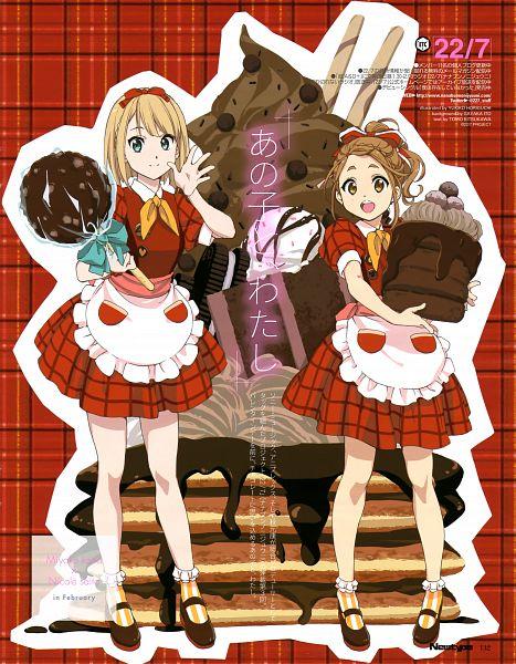 Tags: Anime, Horiguchi Yukiko, 22/7, Saitou Nicole, Kouno Miyako, Official Art, Magazine (Source), Scan, Newtype Magazine (Source)