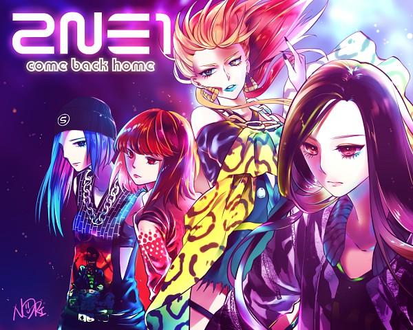 Tags: Anime, Pixiv Id 3305153, Minzy (2NE1), Cl (2NE1), Park Bom (2NE1), Sandara Park (2NE1), Blue Lips, Chain Necklace, K-pop, 2NE1