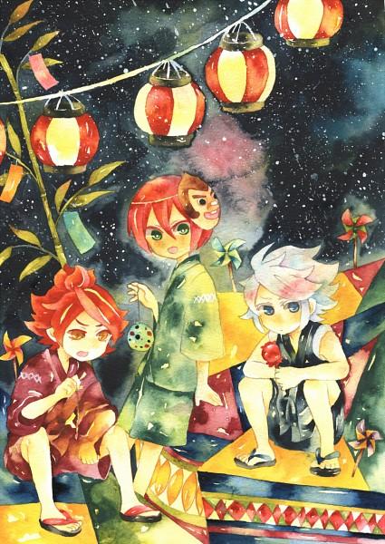 Tags: Anime, Mugi (Pixiv Id 3042646), Inazuma Eleven, Nagumo Haruya, Kiyama Hiroto, Suzuno Fuusuke, Water Yoyo, Pinwheel, Tanabata, Festival, Paper Lantern, Fanart, Pixiv