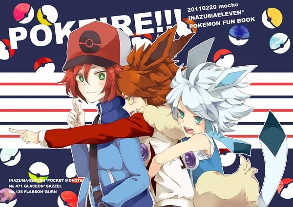 Tags: Anime, Masui, Inazuma Eleven, Kiyama Hiroto, Suzuno Fuusuke, Nagumo Haruya, Group Hug, Flareon (Cosplay), Glaceon (Cosplay), Touya (Pokémon) (Cosplay), Pixiv, Fanart From Pixiv, Fanart