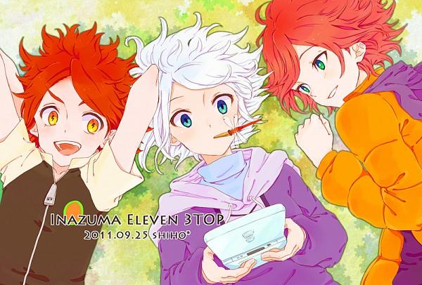Tags: Anime, Shiho (Pixiv 775173), Inazuma Eleven, Kiyama Hiroto, Suzuno Fuusuke, Nagumo Haruya, Nintendo DS, Dragonfly, Text: Character Group Name, Laying on Grass, Pixiv, Fanart, Fanart From Pixiv