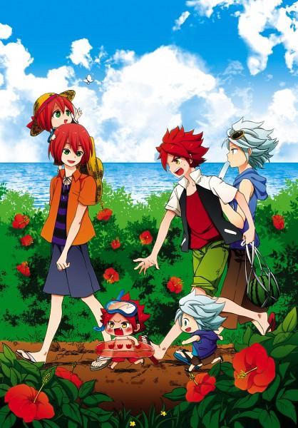 Tags: Anime, Orishima Yupopo, Inazuma Eleven, Nagumo Haruya, Kiyama Hiroto, Suzuno Fuusuke, Flip Flops, Chasing, Snorkel, Mobile Wallpaper, Pixiv, 3top