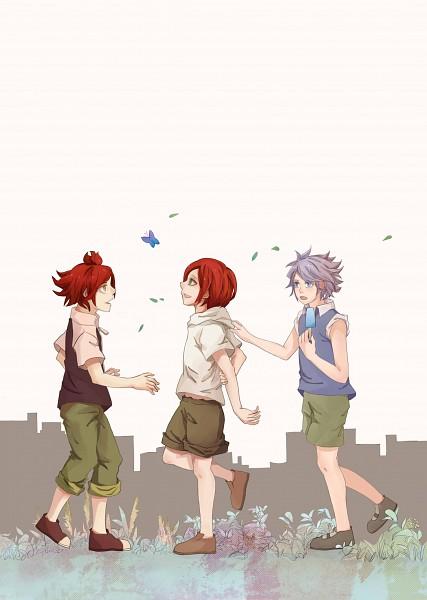 Tags: Anime, Pixiv Id 2287852, Inazuma Eleven, Kiyama Hiroto, Suzuno Fuusuke, Nagumo Haruya, Walking Together, Fanart, Pixiv, 3top