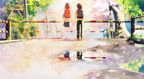 Tags: Anime, Nomiya Shuusaku, 5 Centimeters Per Second, Shinohara Akari, Toono Takaki, Puddle, Spring, Fanart, Facebook Cover, Fanart From Pixiv, Pixiv