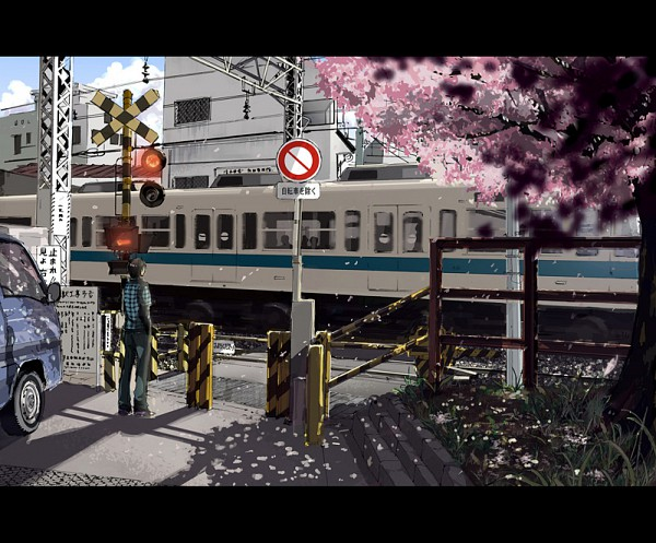 Tags: Anime, Makoto Shinkai, Gori Matsu, 5 Centimeters Per Second, Railroad Crossing, Fanart