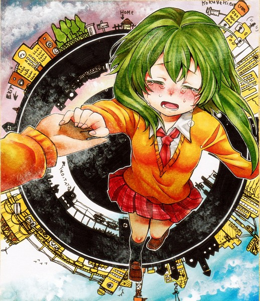 Tags: Anime, Yucke (Artist), VOCALOID, GUMI, A Runaway Boy and a Lost Girl, Fanart, Traditional Media, Star Girl and the Illusory Musical Paradise, Pixiv, cosMo-p