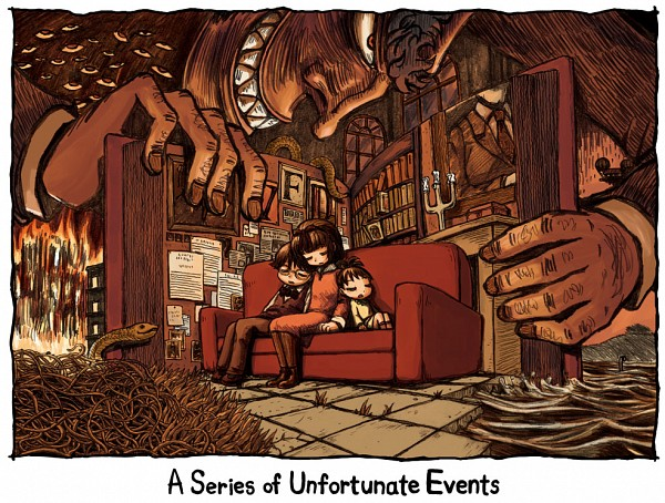 Tags: Anime, Riyo, A Series of Unfortunate Events, Count Olaf, Sunny Baudelaire, Klaus Baudelaire, Violet Baudelaire, Fanart From Pixiv, Pixiv, Fanart