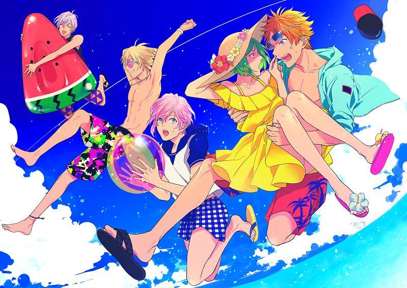 Tags: Anime, Pixiv Id 1630423, A3!, Sumeragi Tenma, Rurikawa Yuki, Sakisaka Muku, Ikaruga Misumi, Miyoshi Kazunari, Swim Trunks, Fanart From Pixiv, Pixiv, Fanart