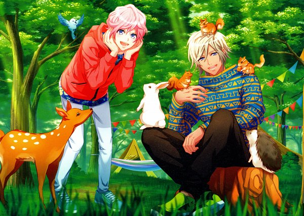Tags: Anime, LIBER ENTERTAINMENT, A3!, Sakisaka Muku, Tree Stump, Hedgehog, Animal on Hand, Self Scanned, Official Art, Scan, CG Art, Magazine Page, B's LOG