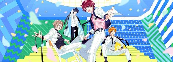 Tags: Anime, Fujiwara Ryo, LIBER ENTERTAINMENT, A3!, Sumeragi Tenma, Settsu Banri, Tsukioka Tsumugi, Sakuma Sakuya, Emblem, Motion Blur, Key Visual, Official Art