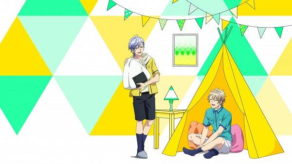 Tags: Anime, A3!, Ikaruga Misumi, Miyoshi Kazunari, Tent, Onigiri, Screenshot, Summer Troupe