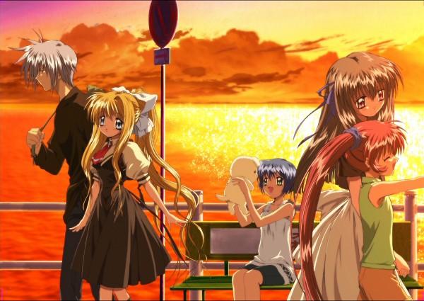 Tags: Anime, Kyoto Animation, KEY (Studio), AIR, Kamio Misuzu, Kirishima Kano, Michiru (AIR), Potato (AIR), Kunisaki Yukito, Tohno Minagi, Walking Past Each Other, Official Art