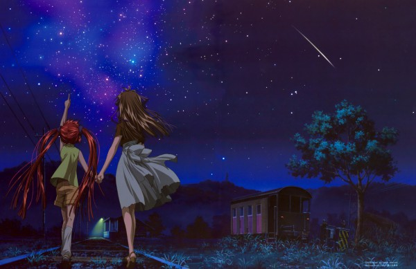 Tags: Anime, Aratani Tomoe, Kyoto Animation, KEY (Studio), AIR, Michiru (AIR), Tohno Minagi, Railroad Tracks, Shooting Stars, Official Art