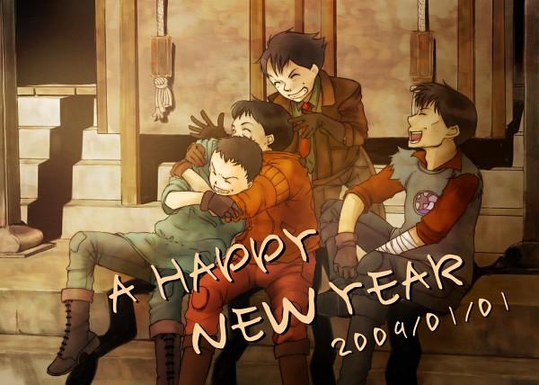 Tags: Anime, AKIRA (Manga), Shima Tetsuo, Shoutarou Kaneda, Yamagata (Akira), Kai (Akira), Blue Hoodie, Red Coat, Red Pants, Fanart, Pixiv