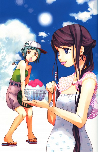 Tags: Anime, Amano Kozue, AMANCHU!, Ooki Futaba, Kohinata Hikari, Shaved Ice, Flip Flops
