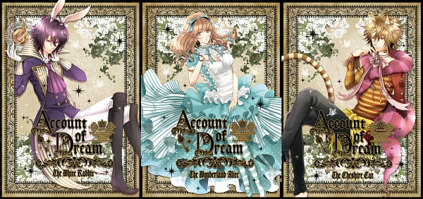 Tags: Anime, Pixiv Id 2048008, AMNESIA, Shin (AMNESIA), Heroine (AMNESIA), Toma (AMNESIA), Cheshire Cat (Cosplay), Striped Tail, White Rabbit (Cosplay), Pocket Watch, Alice (Alice in Wonderland) (Cosplay), Gown, Fanart