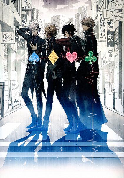 Tags: Anime, Hanamura Mai, IDEA FACTORY, AMNESIA, Ikki (AMNESIA), Shin (AMNESIA), Toma (AMNESIA), Kent (AMNESIA), Heartbeat, Spade (Card), Clubs (Card), Official Art, Mobile Wallpaper