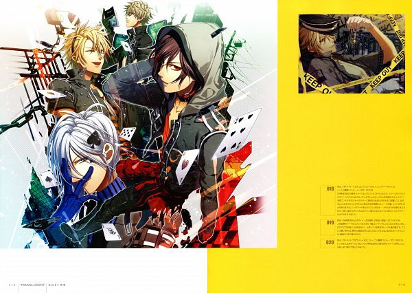 Tags: Anime, Hanamura Mai, IDEA FACTORY, AMNESIA, Toma (AMNESIA), Kent (AMNESIA), Ikki (AMNESIA), Shin (AMNESIA), Clubs (Card), Spade (Card), Scan, Official Art