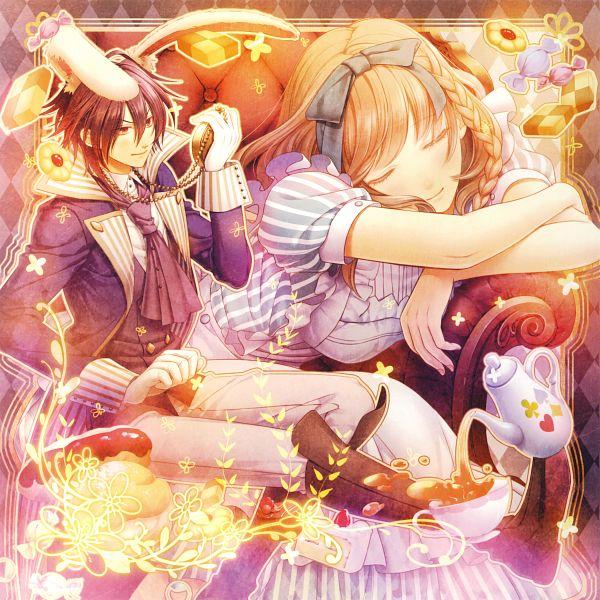 Tags: Anime, Hanamura Mai, IDEA FACTORY, AMNESIA, Heroine (AMNESIA), Shin (AMNESIA), Alice in Wonderland (Parody), Alice (Alice in Wonderland) (Cosplay), White Rabbit (Cosplay), Self Scanned, Scan, Official Art