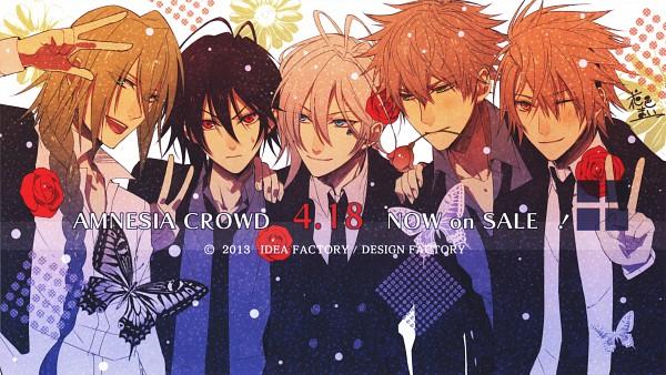 Tags: Anime, Hanamura Mai, IDEA FACTORY, AMNESIA CROWD Official Visual Fanbook, AMNESIA, Ikki (AMNESIA), Shin (AMNESIA), Ukyo (AMNESIA), Toma (AMNESIA), Kent (AMNESIA), Spade (Card), Wallpaper, Self Scanned