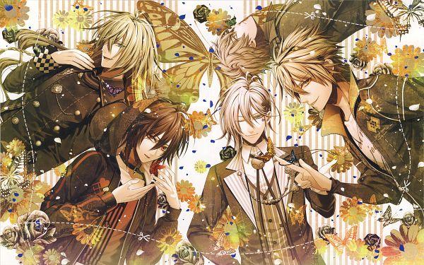 Tags: Anime, Hanamura Mai, IDEA FACTORY, AMNESIA CROWD Official Visual Fanbook, AMNESIA, Kent (AMNESIA), Ikki (AMNESIA), Shin (AMNESIA), Ukyo (AMNESIA), Toma (AMNESIA), Spade (Card), Butterfly on Hand, Self Scanned
