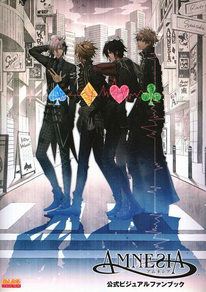 Tags: Anime, Hanamura Mai, IDEA FACTORY, AMNESIA, Ikki (AMNESIA), Shin (AMNESIA), Toma (AMNESIA), Kent (AMNESIA), Heartbeat, Clubs (Card), Spade (Card), Official Art, Mobile Wallpaper