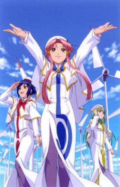 Tags: Anime, ARIA (Series), Alice Carroll, Mizunashi Akari, Aika S. Granzchesta, Wind Turbine, Official Art, Undine (ARIA)