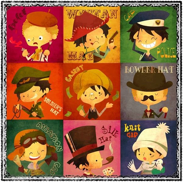 Tags: Anime, Pixiv Id 3091190, ONE PIECE, Monkey D. Luffy, Sabo, Portgas D. Ace, Orange Headwear, Police Hat, Aviator Hat, Bowler Hat, Fanart From Pixiv, Fanart, Pixiv