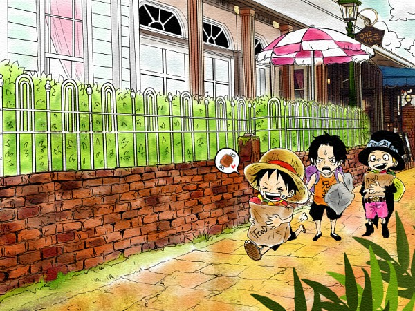 Tags: Anime, ONE PIECE, Portgas D. Ace, Monkey D. Luffy, Sabo, Groceries, Artist Request, ASL