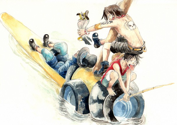 Tags: Anime, Pixiv Id 650749, ONE PIECE, Portgas D. Ace, Monkey D. Luffy, Sabo, Seagull, Fishing, Chest, Pixiv, ASL