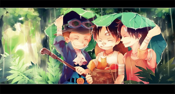 Tags: Anime, Sirius (Artist), ONE PIECE, Portgas D. Ace, Monkey D. Luffy, Sabo, Squirrel, Sheet, Facebook Cover, Pixiv, Fanart, ASL
