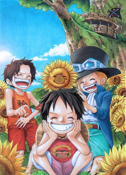 Tags: Anime, Acluf, ONE PIECE, Sabo, Portgas D. Ace, Monkey D. Luffy, Pirate Flag, Mobile Wallpaper, Pixiv, ASL