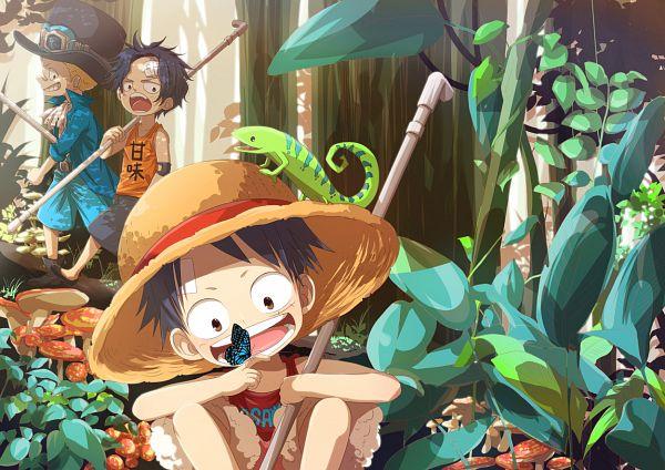 Tags: Anime, Onemani, ONE PIECE, Monkey D. Luffy, Sabo, Portgas D. Ace, Lizard, Pipe (Plumbing), Pixiv, Fanart, ASL