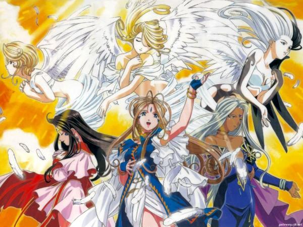 Tags: Anime, Fujishima Kousuke, Aah! Megami-sama, Holy Bell, Belldandy, Noble Scarlett, Skuld, World Of Elegance, Urd, Wallpaper, Ah! My Goddess!