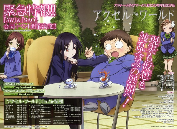 Tags: Anime, Okayama Shinako, Sunrise (Studio), Accel World, Kurashima Chiyuri, Kuroyukihime, Wakamiya Megumi, Arita Haruyuki, Scan, Official Art
