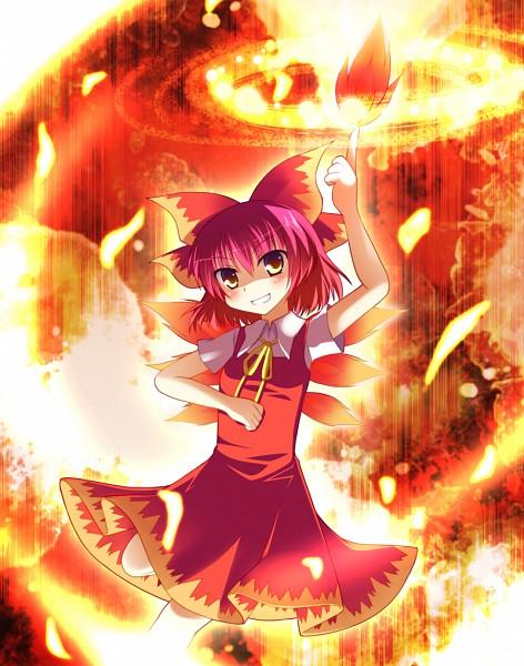 Tags: Anime, Fujisaki Kaon, Touhou, Cirno, Achi Cirno, Fire Wings, PNG Conversion, Fanart, Fire Design