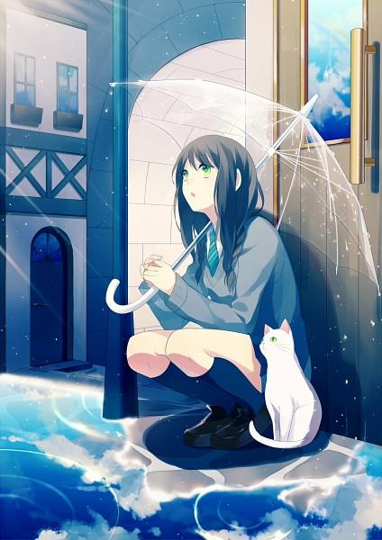 Tags: Anime, Achiki, Water Reflection, Village, Transparent Object, See Through Umbrella, Mobile Wallpaper, Pixiv, Original