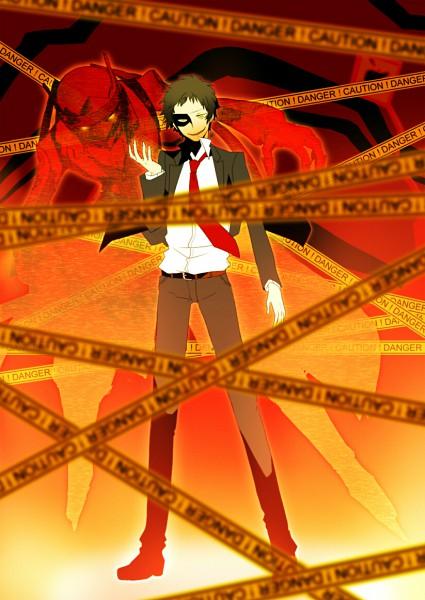 Tags: Anime, Fujino Miyabi, Shin Megami Tensei: PERSONA 4, Magatsu Izanagi, Adachi Tohru, Fanart From Pixiv, Fanart, Mobile Wallpaper, Pixiv