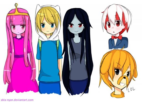 Tags: Anime, Akia-nyan, Adventure Time, Peppermint Butler, Finn the Human, Princess Bonnibel Bubblegum, Marceline Abadeer, Jake the Dog, Bear Hat, Pink Skin, Bear Hood, deviantART, Fanart